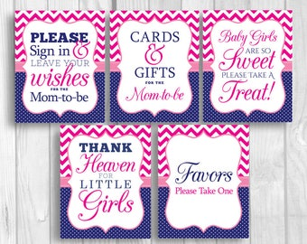 Hot Pink and Navy Blue 8x10 Printable Girl's Baby Shower Sign Bundle - Guest Book, Gift Table, Favor Table and More - Instant Download