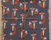 Foxes on Gray Reversible Cloth Lunch Napkin Set