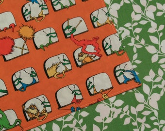 Lorax Thneeds and Truffula Trees- Green Leaves - Reversible Cloth Lunch Napkin Set