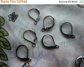SALE 20% Off Gunmetal Rounded Brass Leverback Ear Wires 12 Pcs