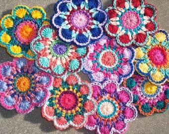 10 handmade cotton thread crochet applique flowers -- 2641