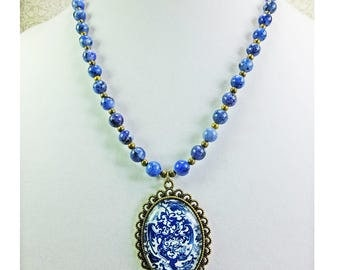 Lovely Dark Blue Ceramic Beaded Necklace with a Blue and White Pendant