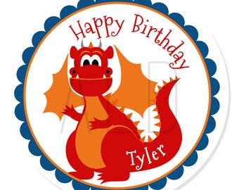 Personalized Stickers -- Dragon -- Personalized Birthday Sticker, Personalized Label, Personalized Favor Label -- Choice of Size