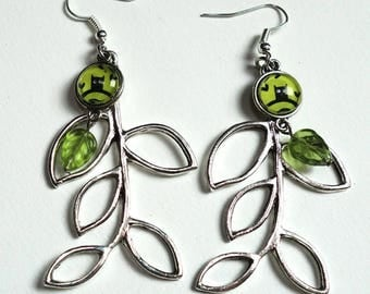The OWL, leaf earrings green BF01A