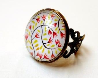 Vintage ring, small flowers BAV161