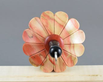 Carved flower top whorl drop spindle in Flame Box Elder and Redheart