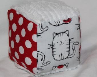 Small Gray Cat Fabric Block Rattle