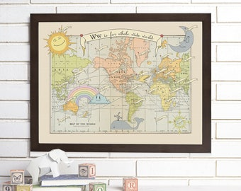 Vintage Map Art, Baby, Alphabet, Nursery World Map