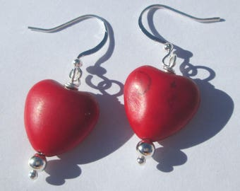 Red Heart Pierced Earrings small red heart shaped stone pierced dangle handmade Gift For Her earrings by Ziporgiabella