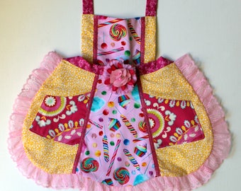 Cotton Candy Lollipop Apron, toddler apron, girls apron