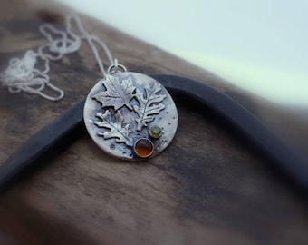 Amber Peridot Sterling Silver Leaf Pendant Necklace - Artisan Autumn Charm Necklace