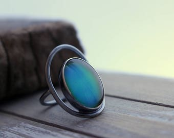 Sterling Silver Moodring Color Changing - Oval Moodstone Ring