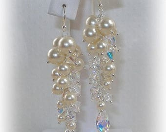 20% OFF Column Earrings in Ivory and Clear AB