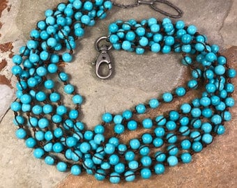Turquoise howlite multistrand necklace