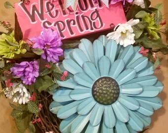 Metal Flower Welcome Spring Grapevine Door Wreath