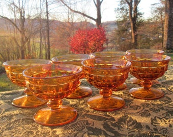 Seven Vintage Colony Stemmed Dessert Dishes -  Whitehall Sherbets - Amber Cubist Glassware - 1960s Indiana Glass