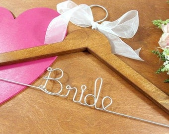 Bride Hangers- Personalized Wire Hangers - Bridal Accessories - Personalized Bridal Hangers - Bride Coat Hanger - Bridal Photo - Hangers