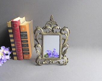 Vintage Solid Brass Mirror, Victorian Mirror, Brass Picture Frame, Standalone Mirror, Free Standing Mirror, Bedroom Mirror, Bathroom Mirror