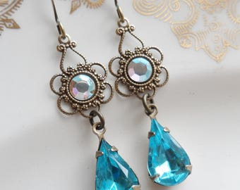 75% Off Price Sale- AB Swarovski Crystal with Vintage Blue Glass Teardrop