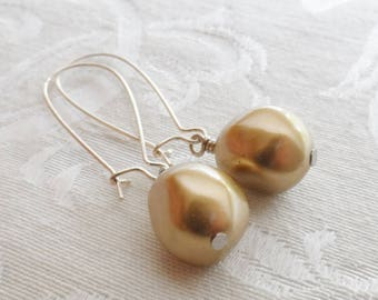 75% Off Price Sale- Gold Nugget Earrings with Vintage Beads