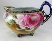 Antique 1890's Hand Painted Footed Nippon Sugar & Creamer Set Cobalt Blue w/Gold Mint Condition Mark #52