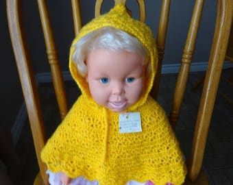 Crochet, Bright yellow poncho, hooded, 0-6 month size, 7 inches neck to edge, baby, girl