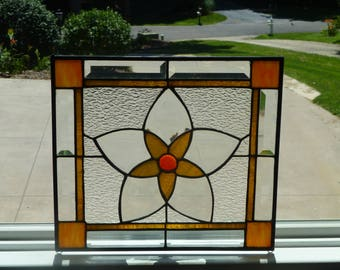 Clearance!  Amber and Orange stained glass panel-Rustic style