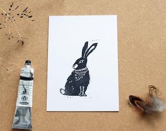 Rabbit lino print