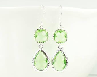 Long Peridot Green Teardrop Silver Earrings, August Birthstone Silver Earrings, August Peridot Earrings, Bridesmaid Gift