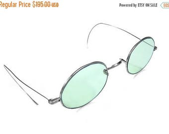 Steampunk Goggles Antique Silver Frames AQUA Tint Steam Punk Glasses 1800s SPECTACLES, John Lennon Style Tinted Glasses,  - by edmdesigns