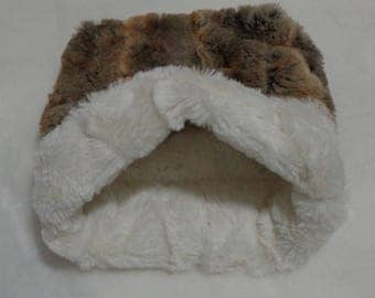 """Snuggle Sack- Pouch for Hedgehog - Red Fox Amber Taupe with Ivory Minky Fur - 9""""x9"""""""