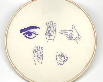 Hand Embroidery. Prince Quote. I Would Die 4 U. Wall Art. Embroidery Hoop. Cross Stitch. Needlepoint. Song lyric. Needle art. Decorate.