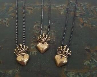 Solid Bronze Heart Crown Pendant Necklace, Oxidized Silver Chain, Sterling Silver Chain Pendant Necklace, Gold Pendant, Black Chain, Edgy