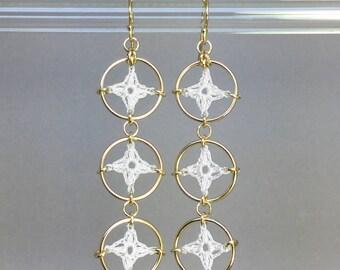 Spangles, white silk earrings, 14K gold-filled