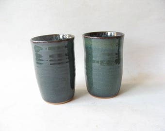 Set of Pottery Tumblers, Ceramic Glasses, Stoneware Tumblers, Set of 2,  Handmade Tumblers,