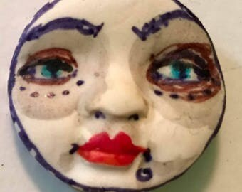 clay face Handmade  round mask tile jewelry craft supplies  handmade pendant  girl woman mosaic tile