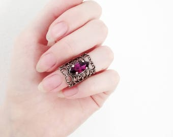 Silver Knuckle Ring Purple Midi Ring Filigree Gothic Ring Victorian Ring Purple Swarovski Crystal Ring Gothic Jewelry