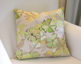 Sage Floral Birds Pillow Covers, 16x16, Toss Cushions, Green, Yellow, Beige, Tan, Greenery