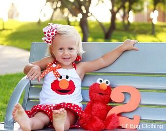 TOP ONLY- Elmo Sesame Street Outfit, Elmo Sesame Street Birthday Girl Outfit, Elmo Sesame Street Summer Girls Short & Top