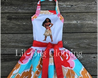Moana Dress, Moana Comfy Knit Birthday Girl Dress, Moana Birthday Party, Hawaiian Luau Girl Dress, Moana Girl Clothes
