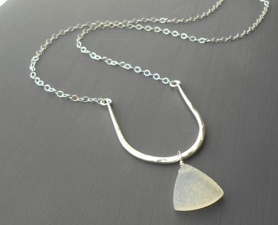 Minimalist Sterling Silver White Druzy Necklace