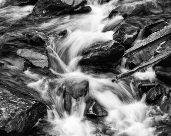 White Water Rapids Landscape photograph, long exposure photo, Black and White Photograph, landscape Photography, rushing river