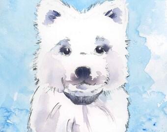 Children's Dog Art Print - Samoyed Art Print - Children's Dog Nursery Print - Puppy Dog Wall Art - Year of the Dog