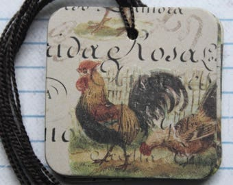 25 Gift tags Rooster / Chicken paper over chipboard...pre-strung