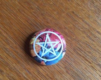 Floral Pentagram 1 inch pin
