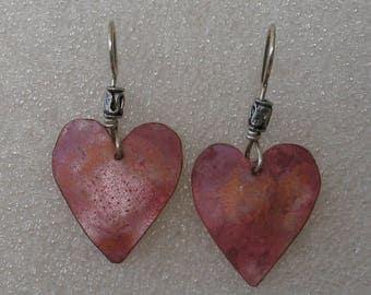 Heat Patina Heart Copper Earring