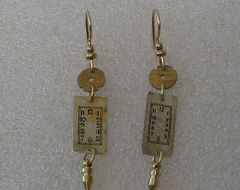 Gold Colored Watch Face Earrings