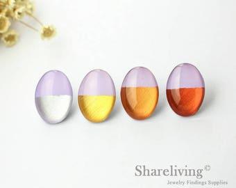 Handmade Silver, Gold, Rose Gold, Copper Foil & Purple Oval Glass Dome , 13x18mm 18x25mm Foil Glass Cabochons - GCF311