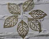 Antiqued Brass Leaf Filigree- Skeleton Leaf Outline Pendant- Brass Filigree Pendants- Filigree Metal Supply Pack of 10