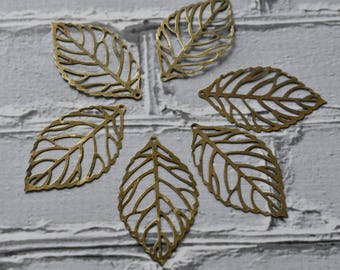 Antiqued Brass Leaf Filigree- Skeleton Leaf Outline Pendant- Brass Filigree Pendants- Filigree Metal Supply Pack of 10